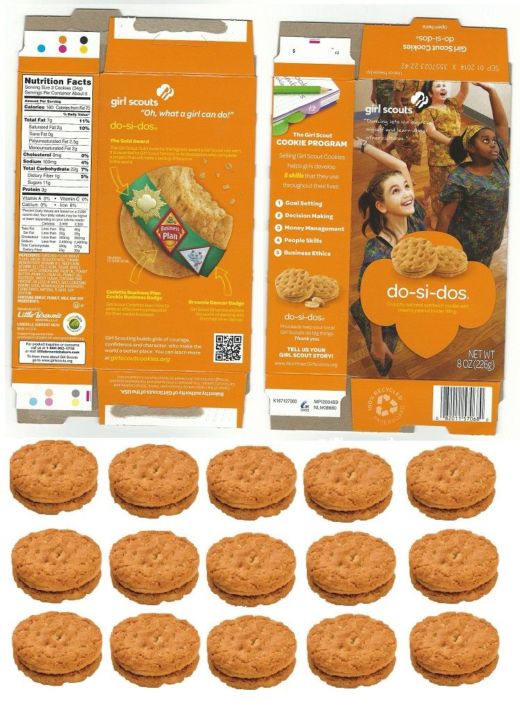 doll sized girl scout do si dos cookie box with matching cookies to fill it!