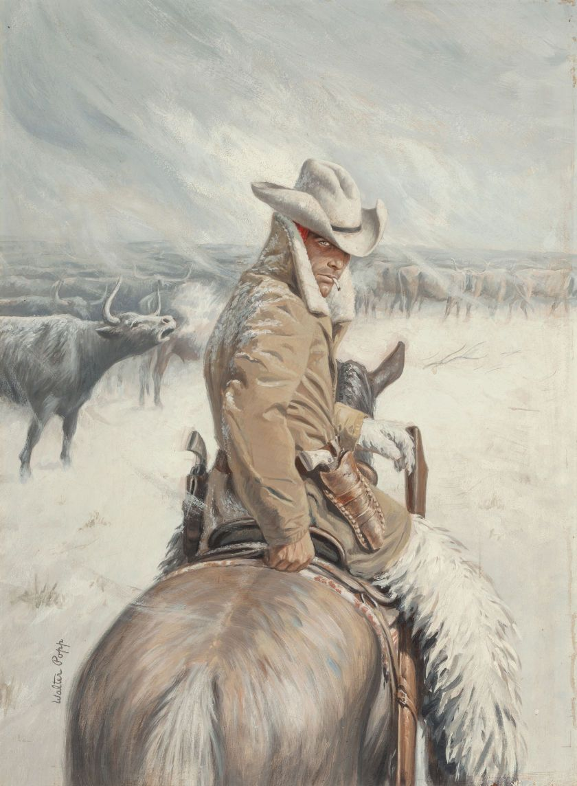 Pulp, Pulp-like, Digests, and Paperback Art, WALTER POPP (American, 1920-2002). Four Texans North, paperbackcover, 1955. Oil on board. 25 x 18.25 in.. Signed lower ... Image #1