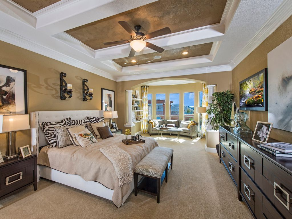 transitional master bedroom. Transitional Master Bedroom With Columns, Carpet, Interior Wallpaper, Ceiling Fan, Exposed Beam O