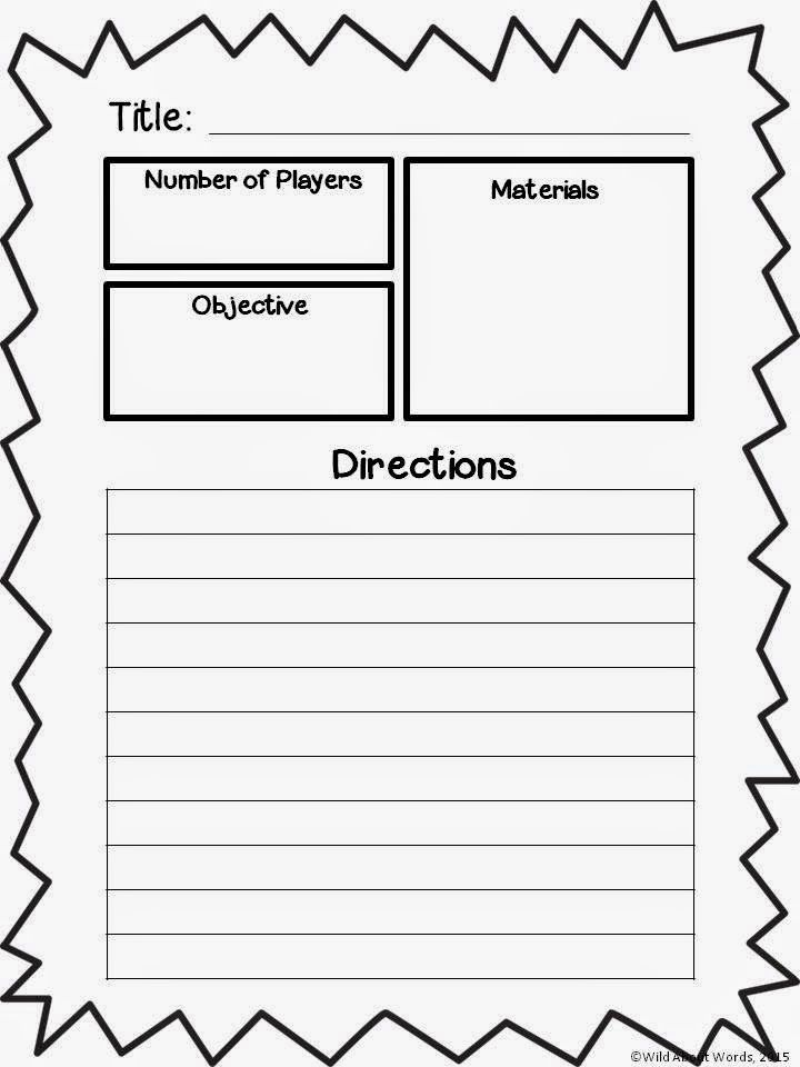 game plan template great activity for those long afternoons after
