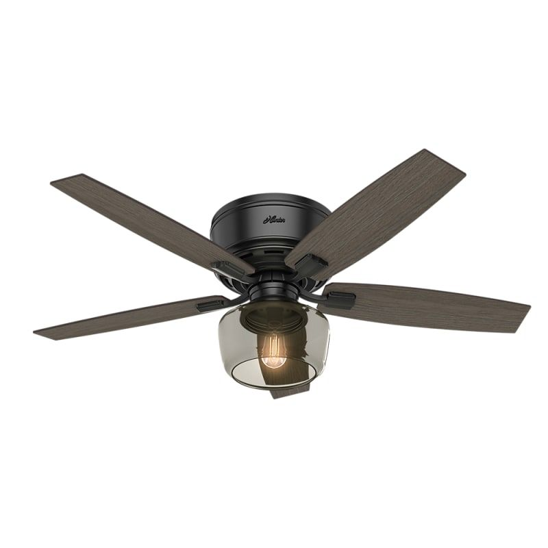 Hunter 53393 Matte Black Bennett 52 5 Blade Led Ceiling Fan With Remote Control Included Ceiling Fan With Light Black Ceiling Fan Flush Mount Ceiling Fan