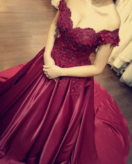 febf1a469c3 Lace Flower Off The Shoulder Satin Prom Dresses Ball Gowns in 2019 ...