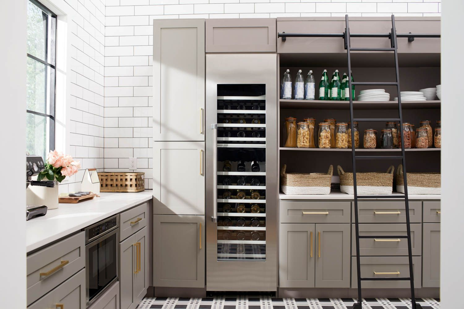 The Absolute Dream Pantry Set Up Sliding Ladder Wine Fridge Coffee Station And More Food Network Recipes Kitchen Kitchen Pantry