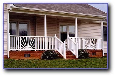 Starburst design porch railing.   My future home   Deck ...