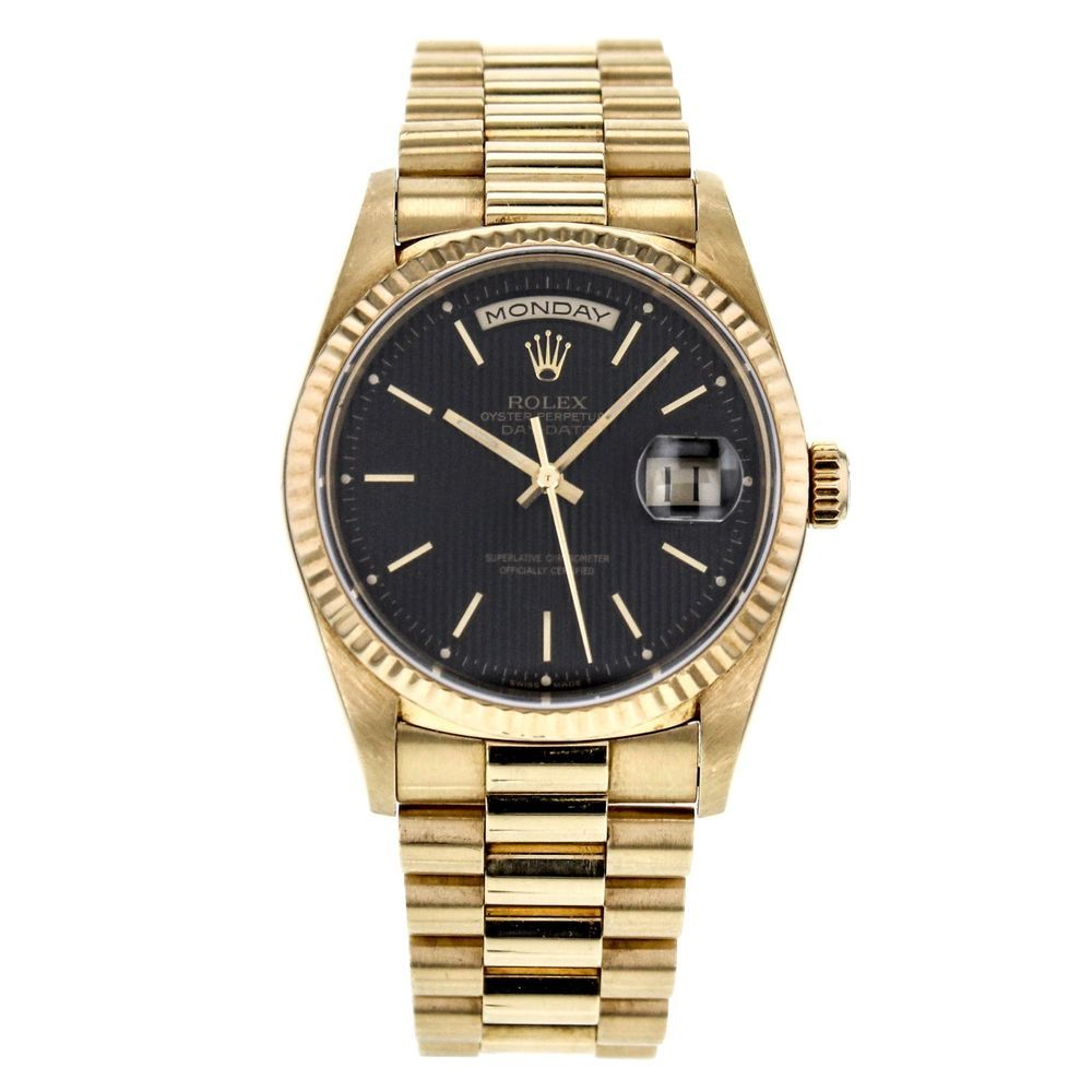 Rolex Day Date President 18k Yellow Gold Watch With Black