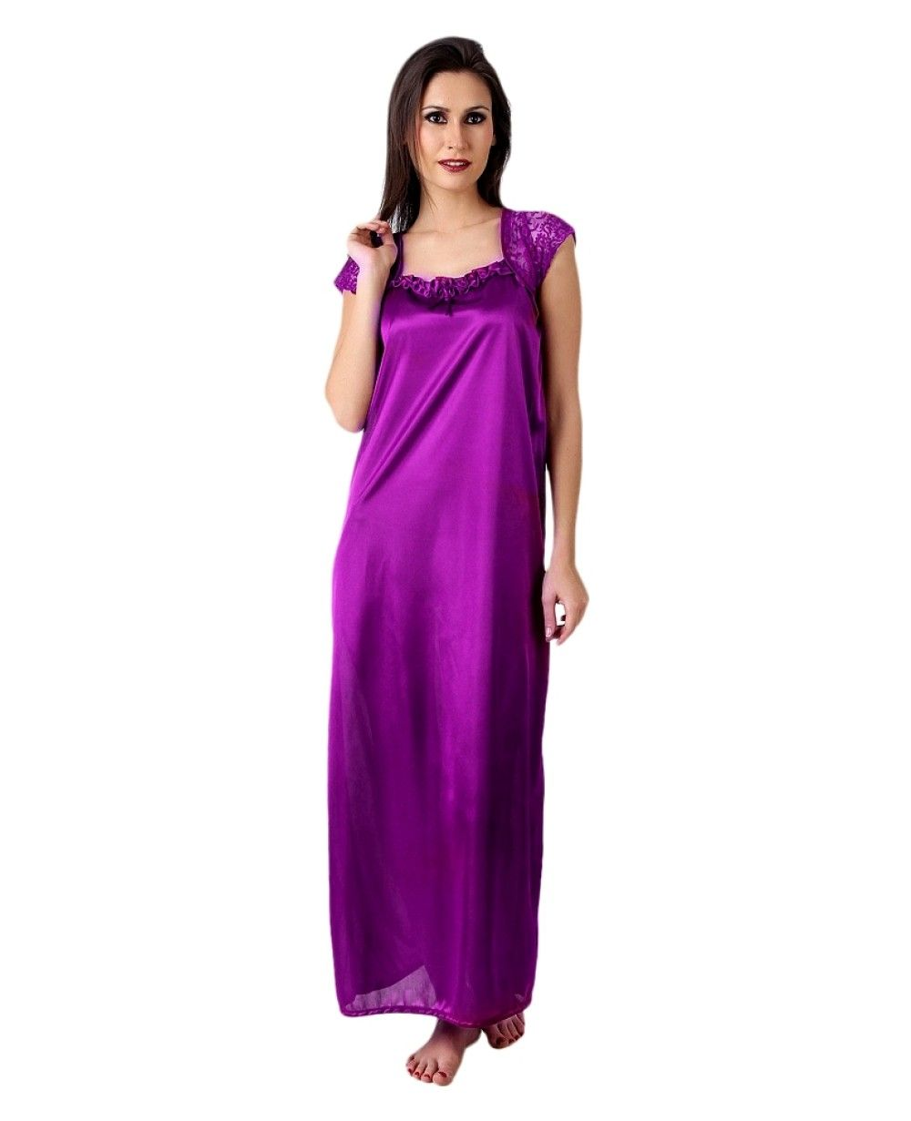 3b5a4bd382 Women Satin Dark Purple Color One Piece Nighty, Night Suit, Night dress  #nightwear #lingerie #sexynightwear #nightdress