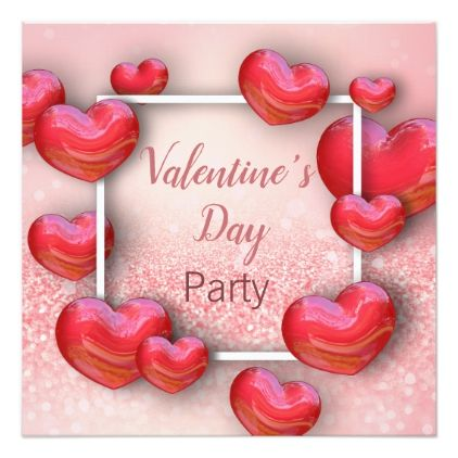 Valentine\'s Day Red Hearts - Party Invitation - Saint Valentine\'s ...