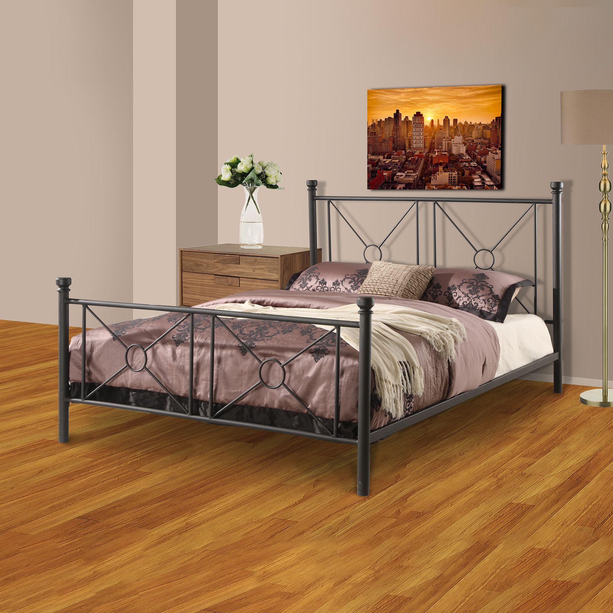 Pilaster Designs - Matte Black Metal Full Size Bed Headboard Footboard Rails & Metal Slats