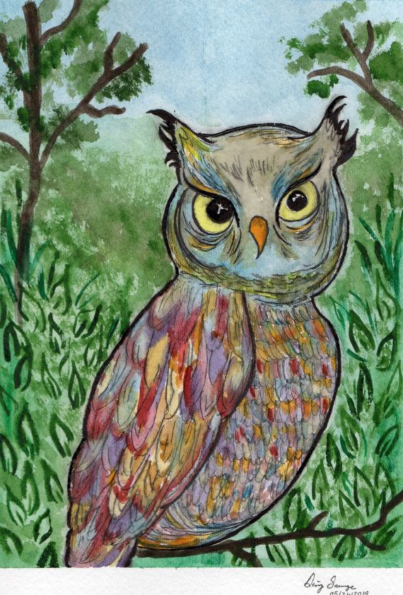 Check out this item in my Etsy shop https://www.etsy.com/listing/190864816/owl-watercolor-painting-owl-colorful