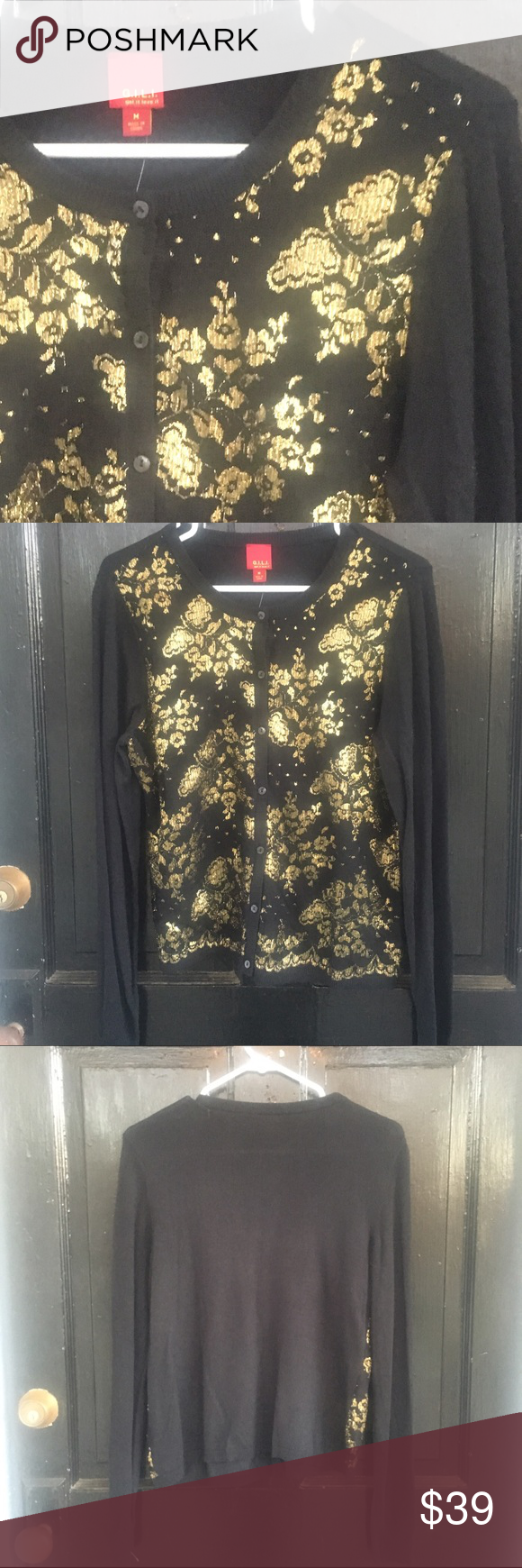 NWT G.I.L.I. Black and metallic gold lace cardigan NWT Black and ...