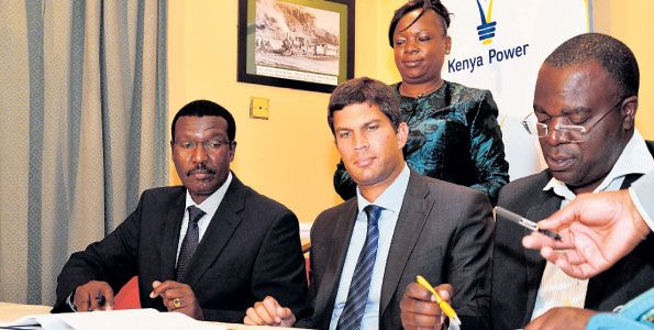 Kenya Power MD Ben Chumo (left), Akiira Geothermal directors Lars - power purchase agreement