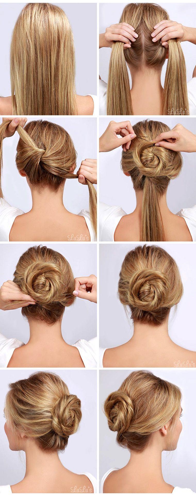 Pettinature capelli raccolti, tutorial per capelli lunghi ...