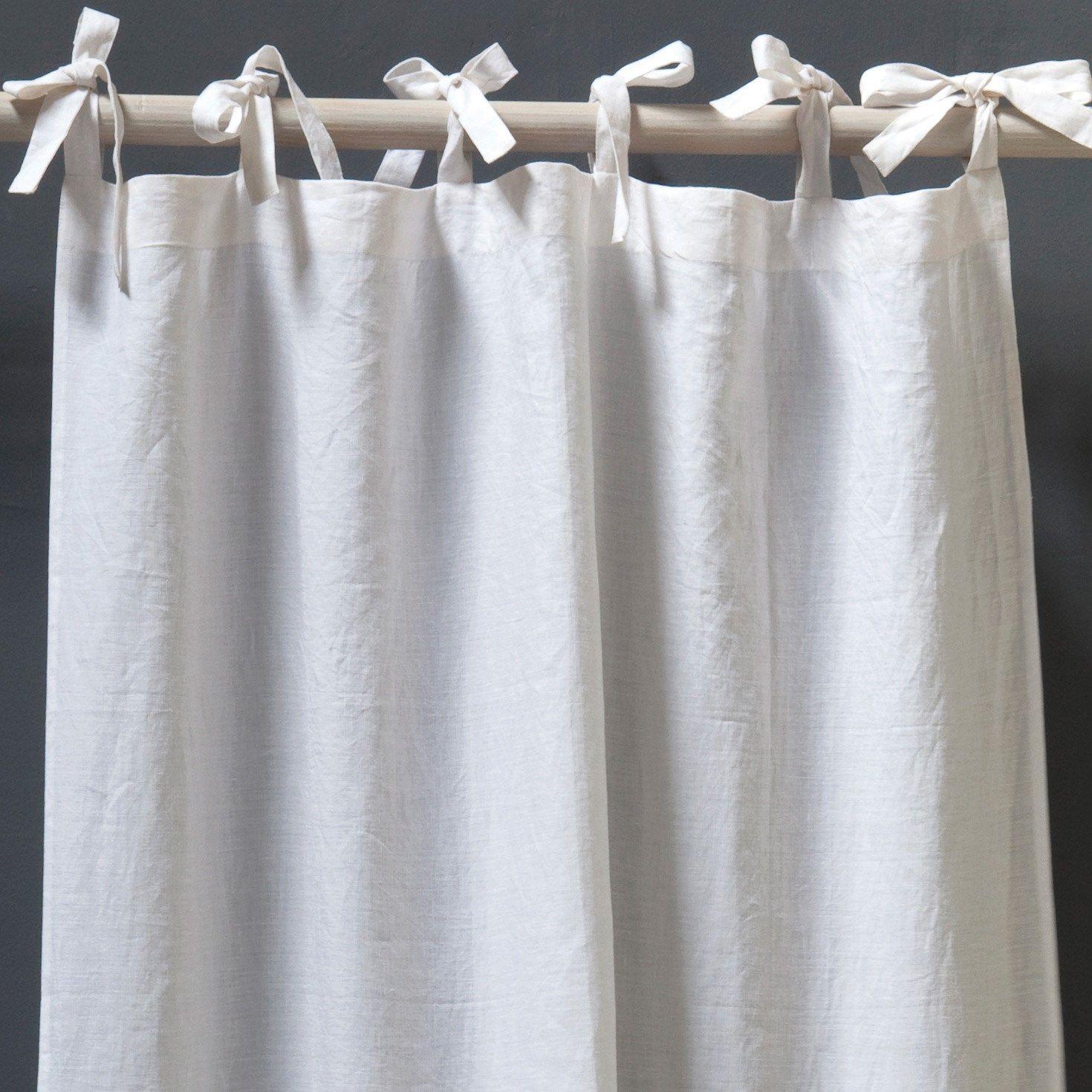 Pom Pom At Home Curtain Panel Tie Top Organic Linen Linen