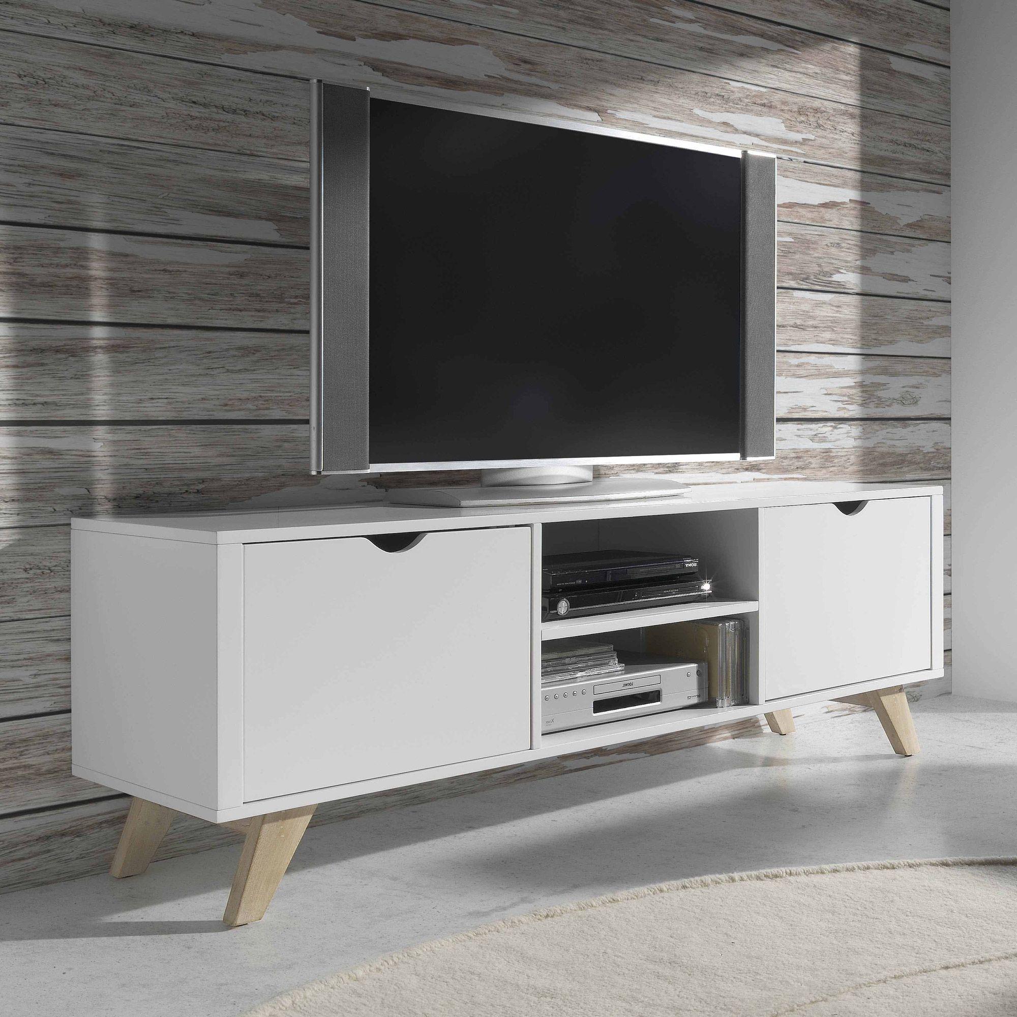 Meuble Tv Bas En Bois Avec 2 Portes Et 2 Niches Pablo Par  # Les Dimensions D'Un Meuble Tv En Bois