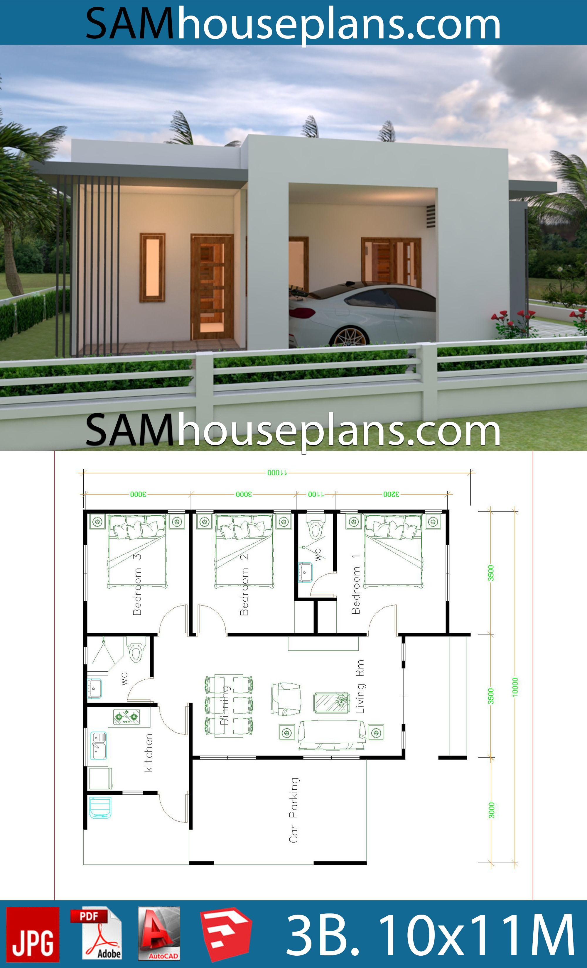 House Plans 10x11 with 3 Bedrooms - House Plans Free ...