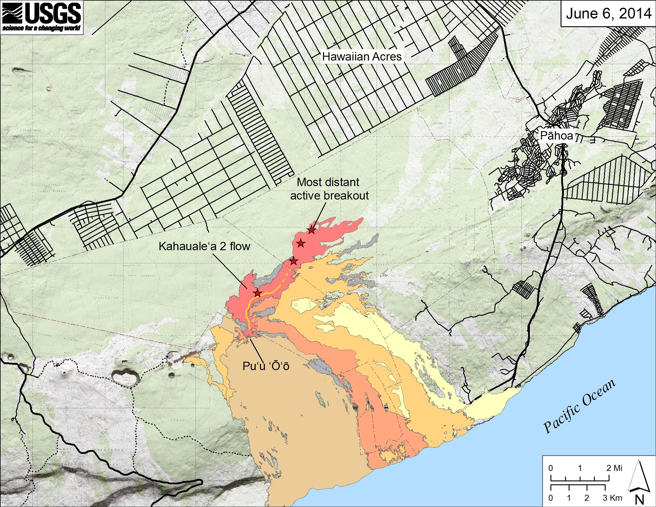 Hawaii Map Lava.June 06 2014 Lava Flow Map Hawai I Nei Hawaii Volcanoes