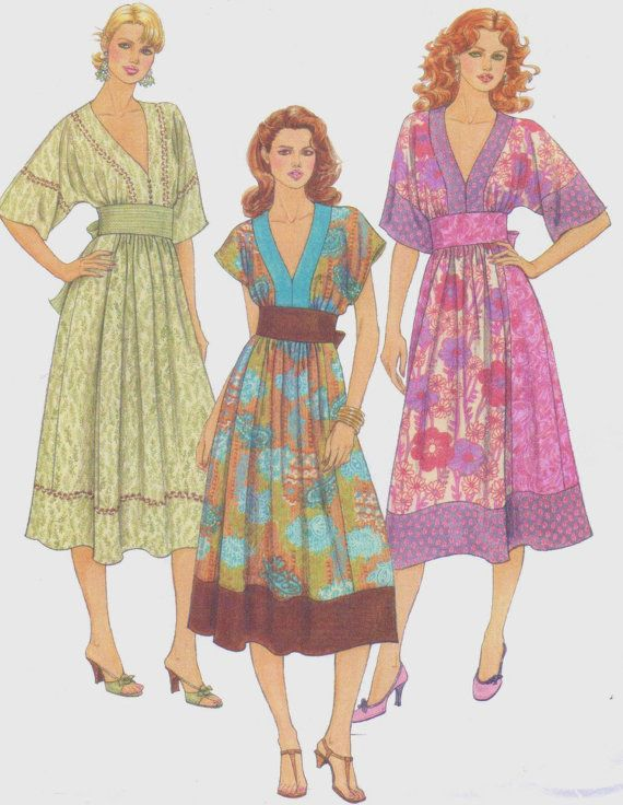Womens Pullover Hippie Boho Dress OOP McCall\'s Sewing Pattern M5137 ...