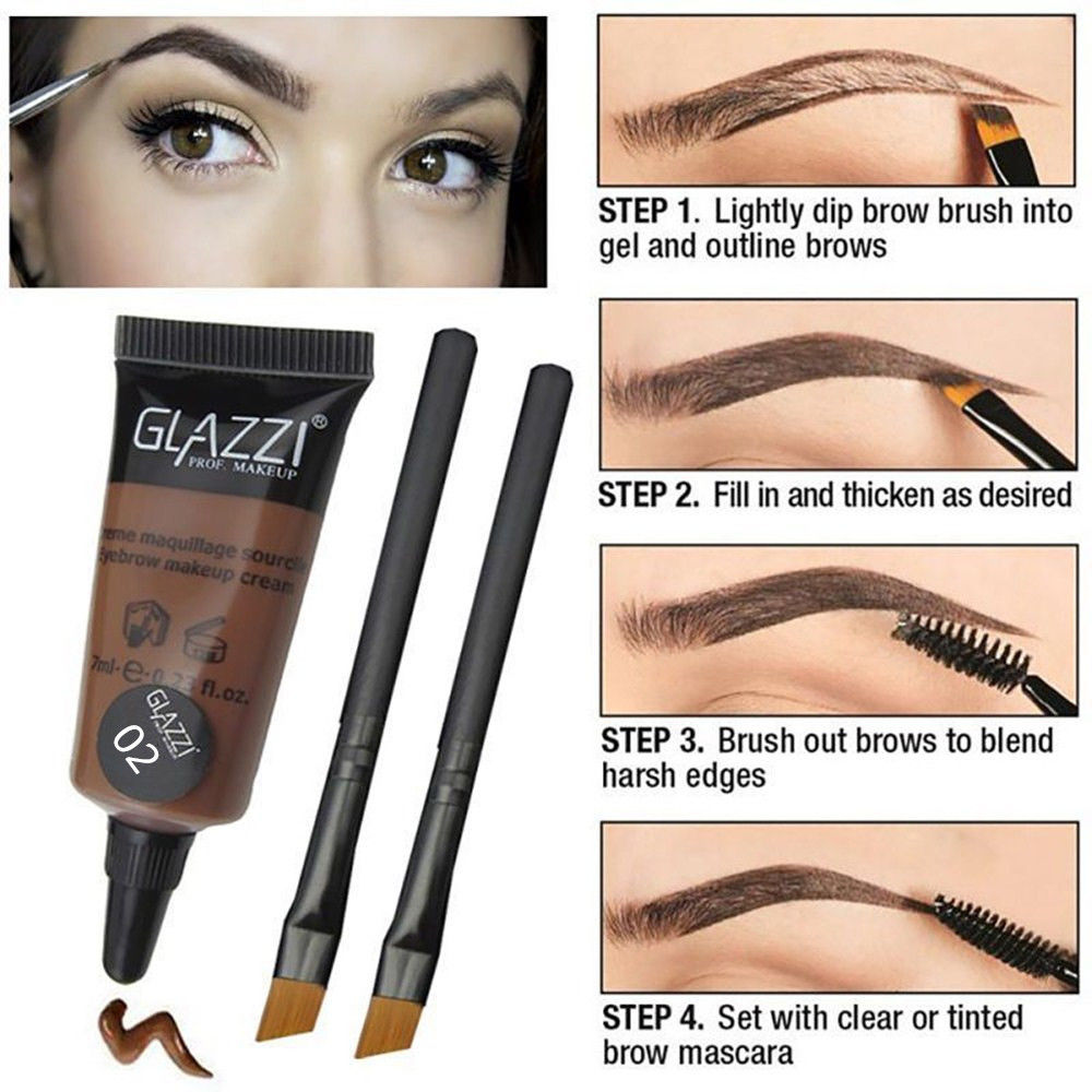 5fb5e9fe846 Waterproof Brown Tint Eyebrow Henna With 2Pc Mascara Eyebrows Paint Brush  Beauty