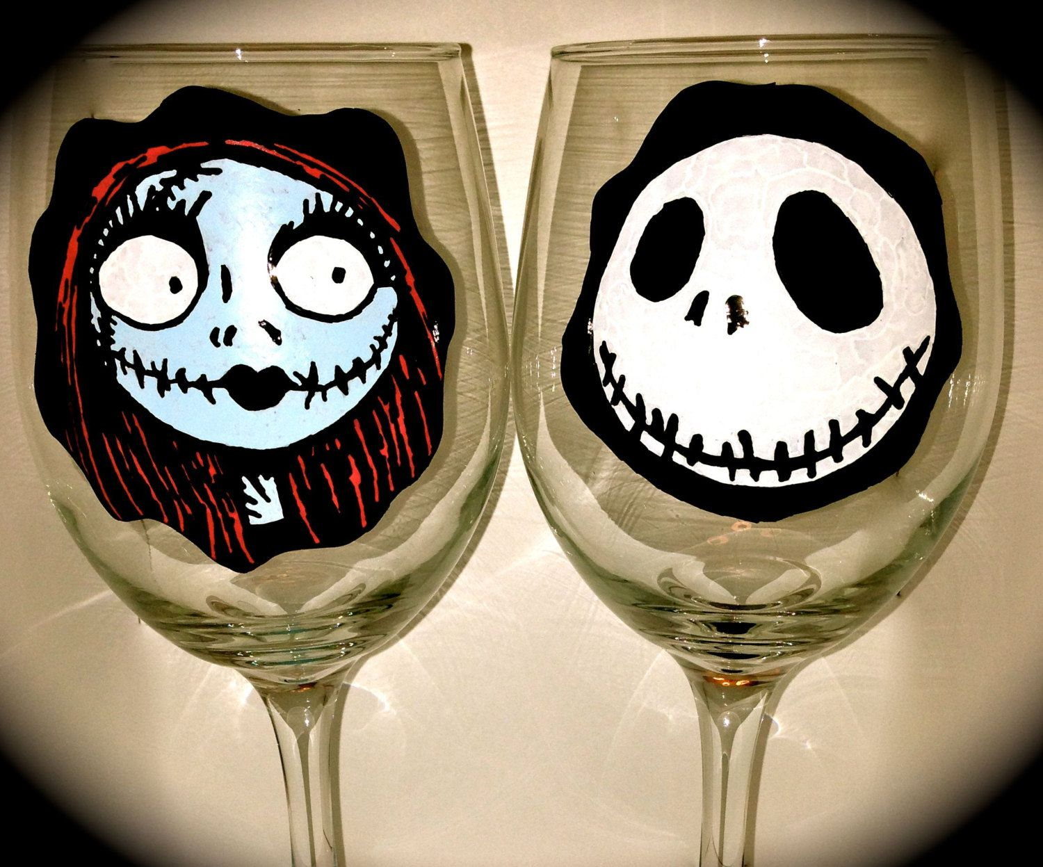 Nightmare+Before+Christmas+Wine+Glasses++Jack+and+by+TouchOGlass,+$ ...
