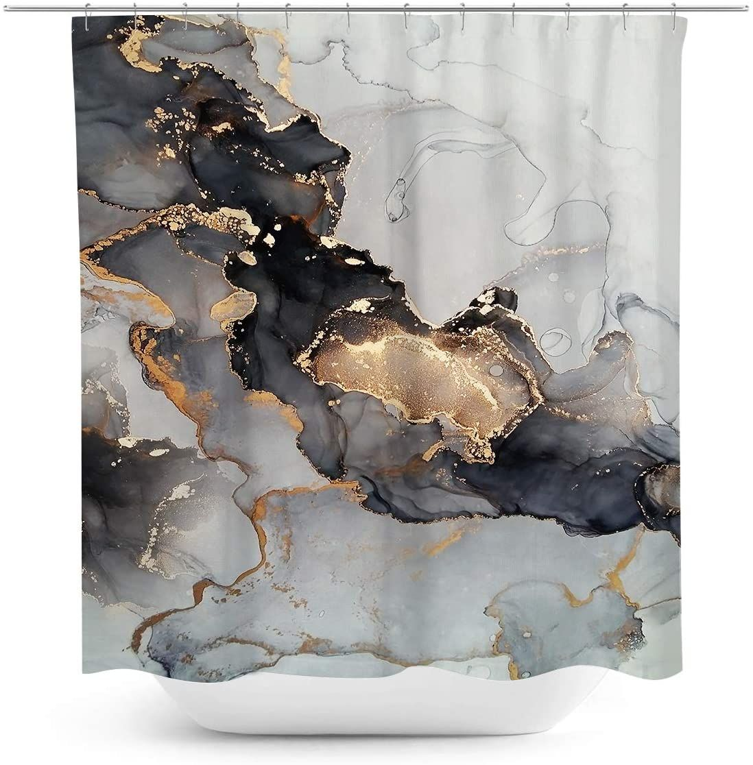 Black and White Marble Shower Curtain Abstract