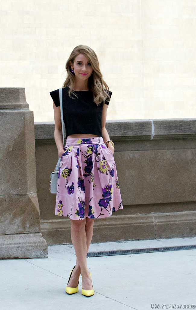 5f268a471c Black crop top, orchid floral skirt | Closet | Fashion, Types of ...