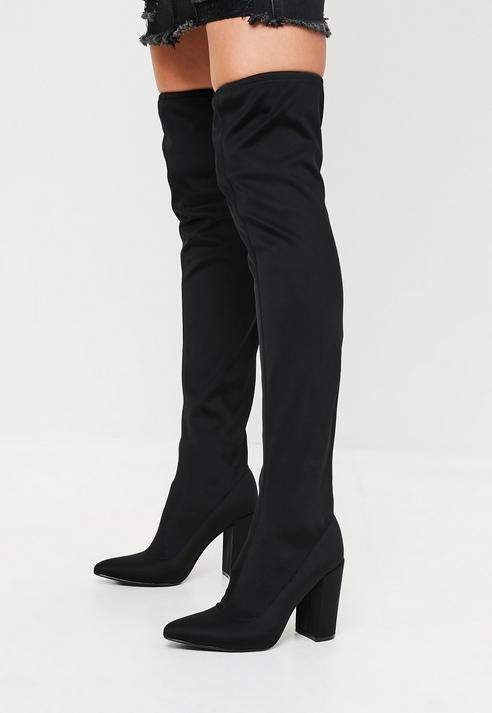 a21a144fe92 Missguided Black Pointed Neoprene Over The Knee Boots