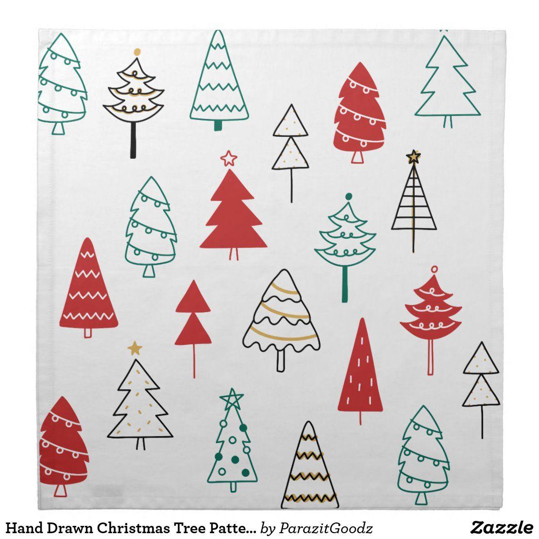 Hand Drawn Christmas Tree Pattern Cloth Napkin Zazzle Com In 2021 Christmas Tree Pattern Inflatable Decorations Tree Patterns