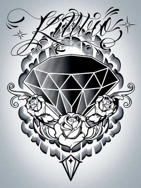 Roses And Diamonds Tattoo : roses, diamonds, tattoo, Unique, Diamond, Roses, Tattoo, Design, Designs,, Tattoos,, Designs