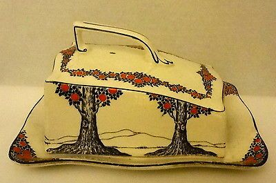 Crown Ducal Ware butter dish in the Orange Tree pattern