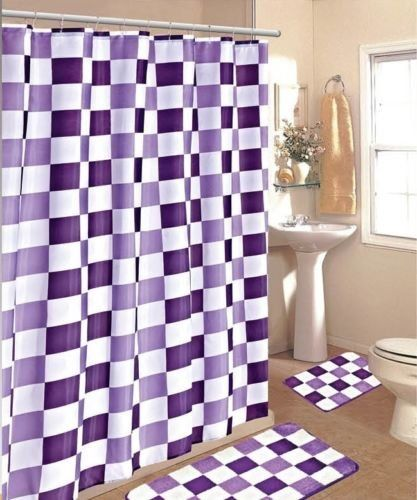 Gorgeous Home 15pc Purple Checkers Bathroom Bath Mats Set Rug