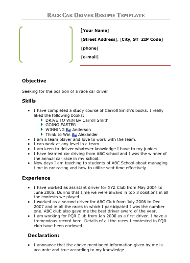 Driver Resume Template  WordstemplatesOrg