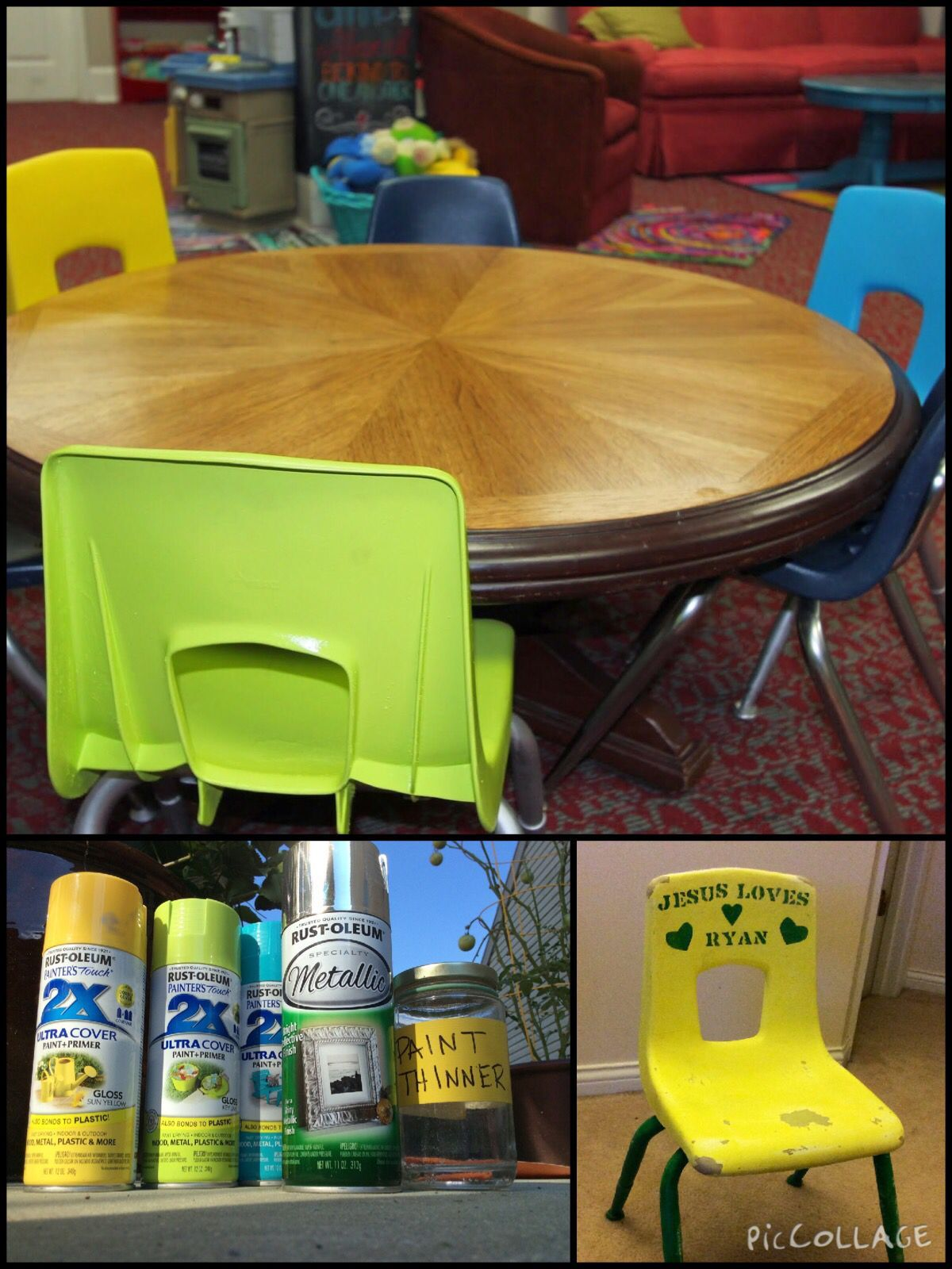 Repaint little plastic chairs for new look! MUST USE
