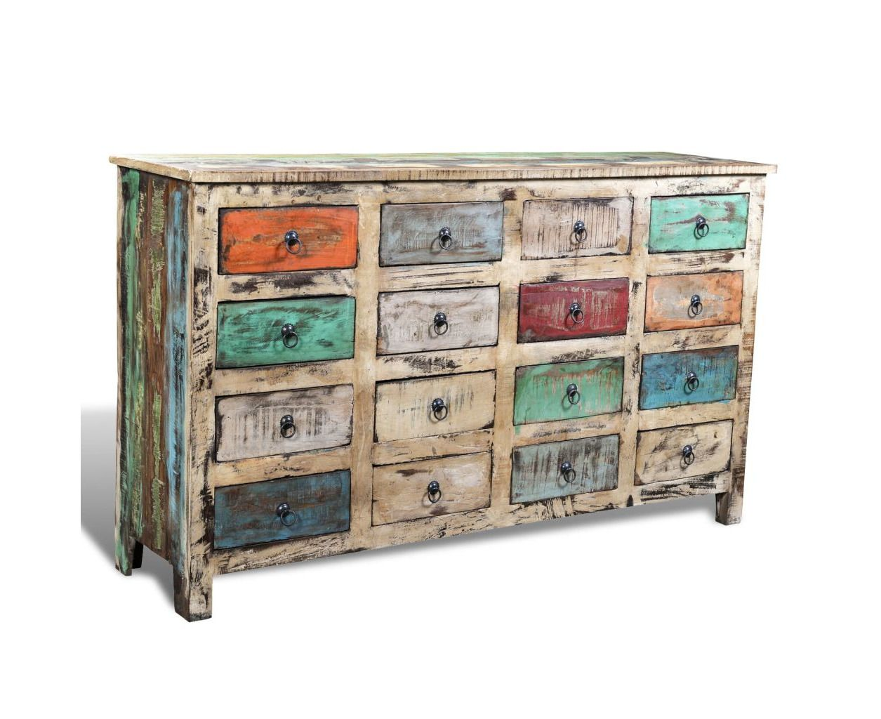 Reclaimed Wood Recycled Cabinet Multicolour Storage W 16 Drawers Vintage Chest With Images Wood Storage Cabinets Reclaimed Wood Cabinet Wood Storage
