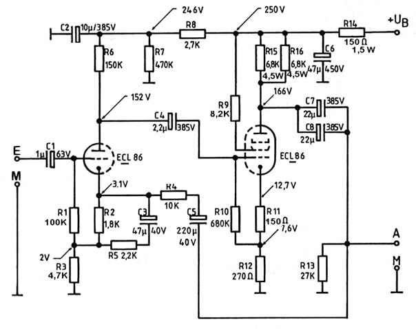Röhren-Verstärker mit ECL 86 | ecl86 | Pinterest