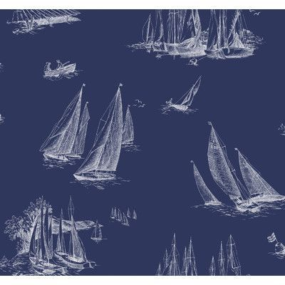 """York Wallcoverings Nautical Living Sailboat Toile 27' x 27"""" Scenic Wallpaper Color: Blueprint Blue and White"""