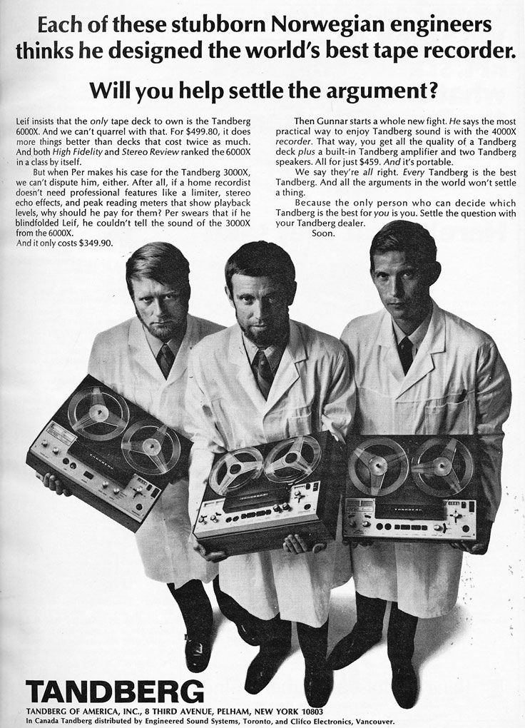 1972 ad for the Tandberg 6000X reel to reel tape recorder in the