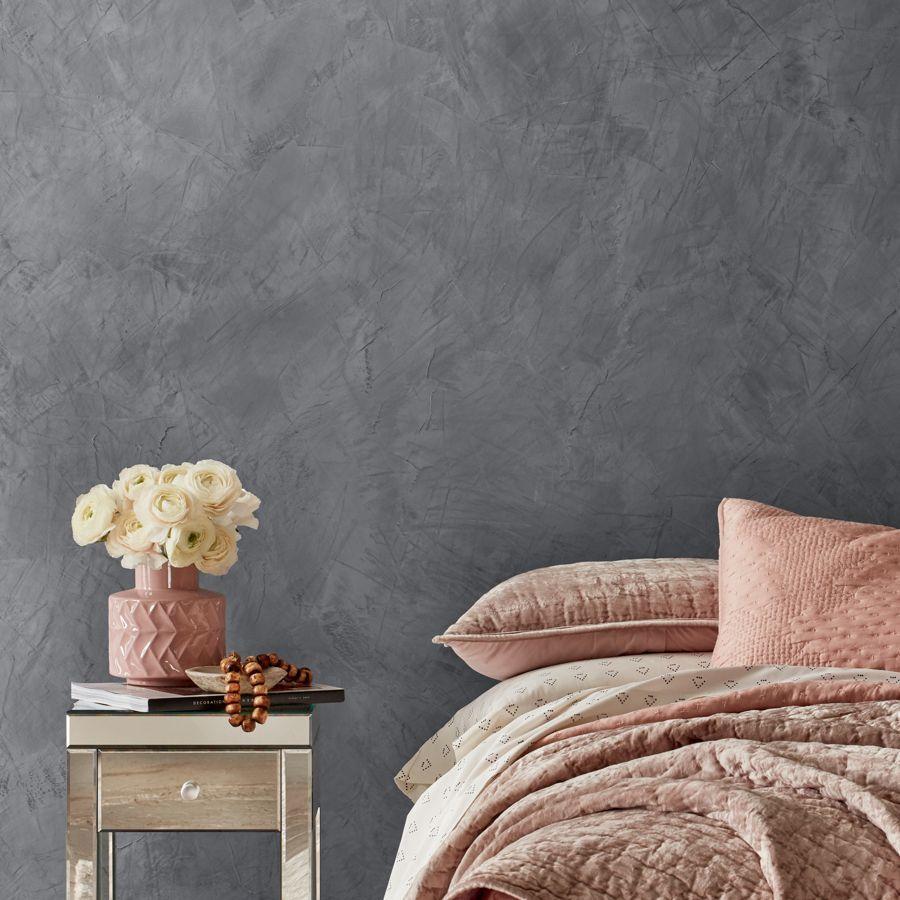 Bedroom With A Suede Textured Gray Wall Feature Wall Bedroom Gray Painted Walls Painted Feature Wall Dark grey wallpaper bedroom