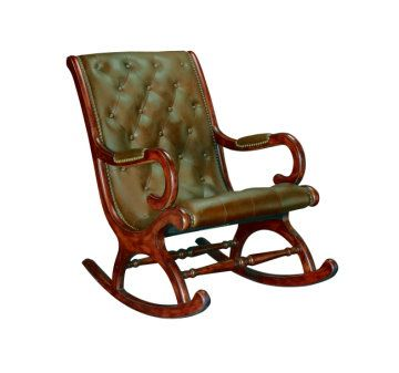 Elegant Brown Tufted Leather Rocking Chair With Leather Arm Pads And Antique Brass  Nailhead Trim