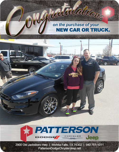 Congratulations To Kourtney Whetsell On Her New Dodge Dart!   From Thomas  Myers At Patterson