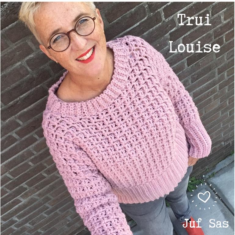 Trui Louise handmade by juf Sas met gratis haakpatroon