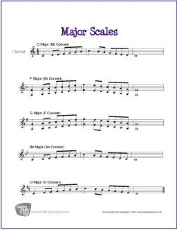 Major Scales For Clarinet With Images Major Scale Clarinet