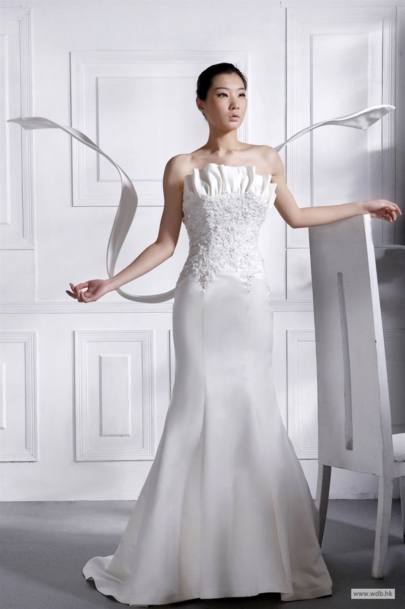 Dream wedding sexy back satin mermaid style wedding dress