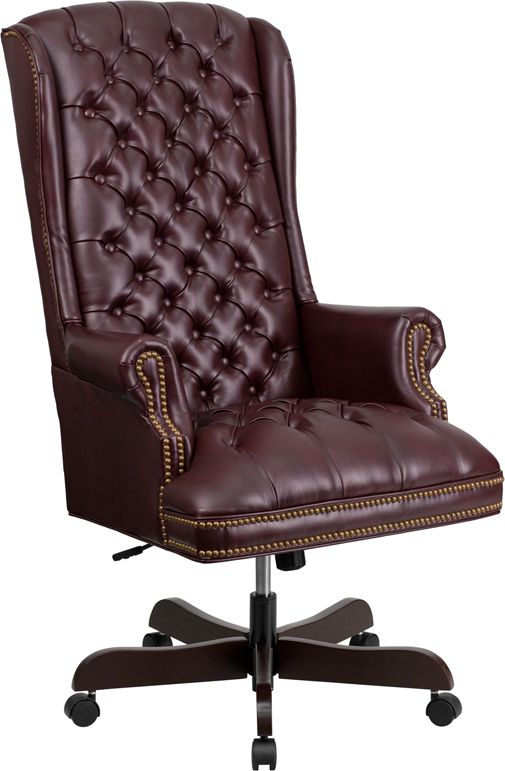 High Back Traditional Fully Tufted Burgundy Leathersoft Executive