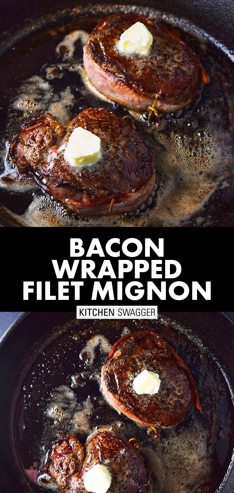 Baconwrapped filet mignon with truffle butter recipe in