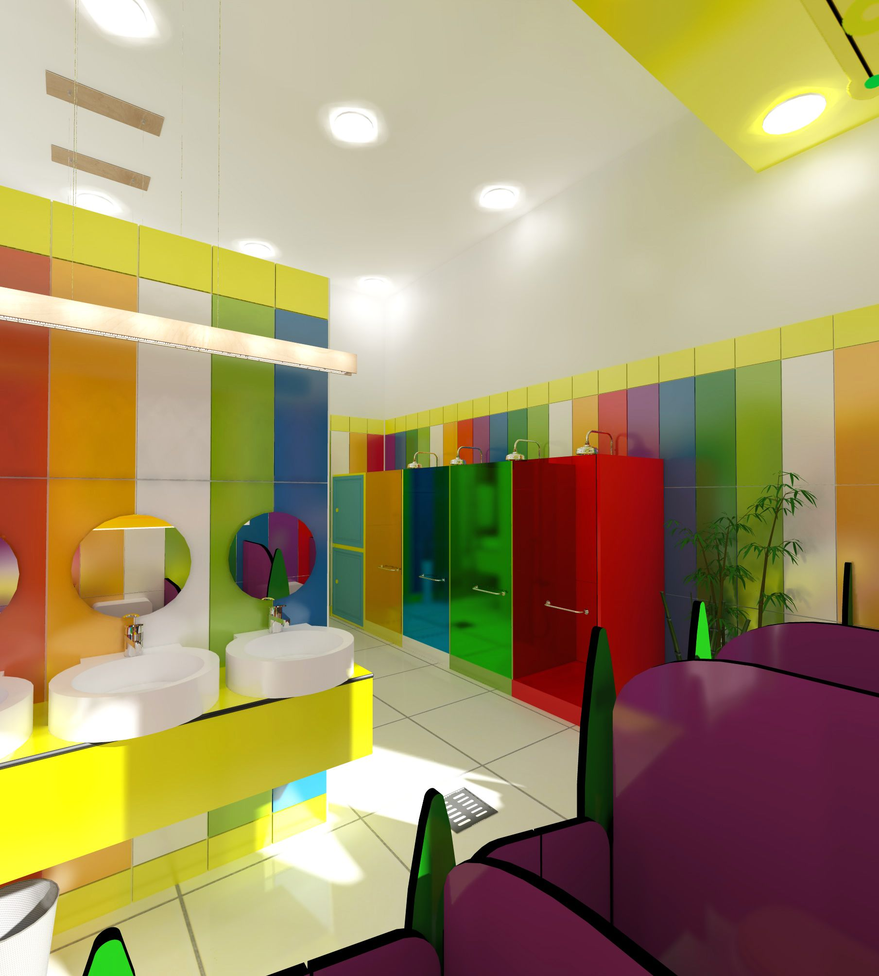 Kindergarten Bathroom Design - Colorful Spaces - Mandala Floor -