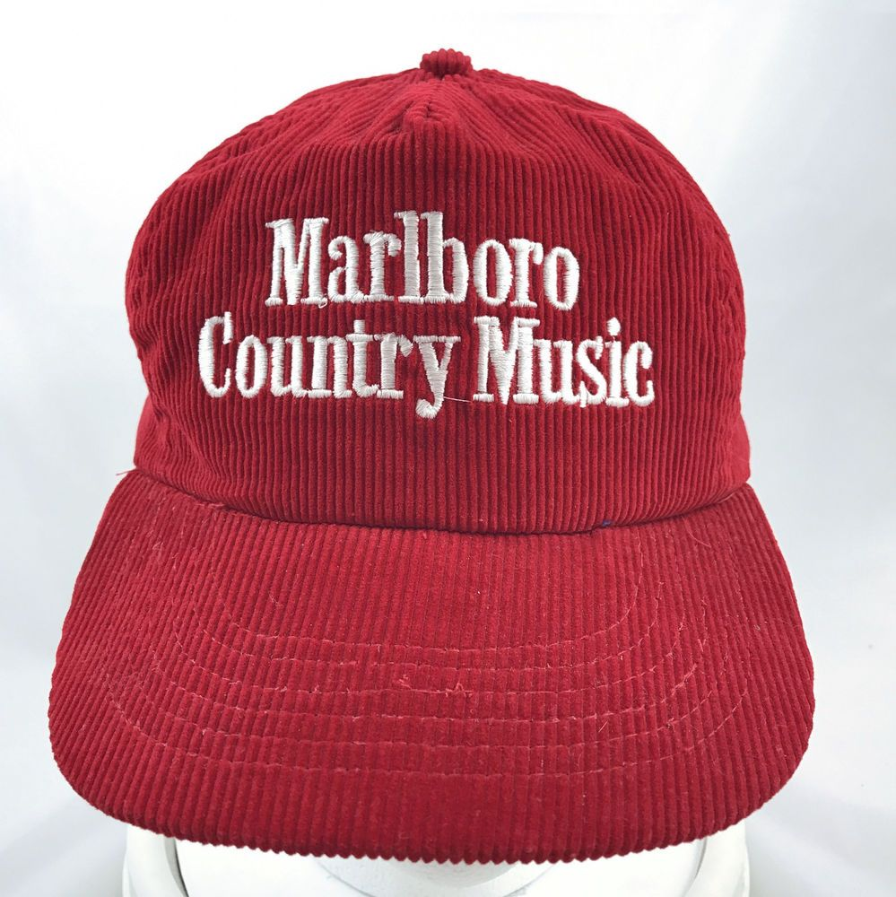 Vintage Marlboro Country Music Red Corduroy Hat Cap Adjustable Snapback   Unknown  BaseballCap b36fa0d62ca