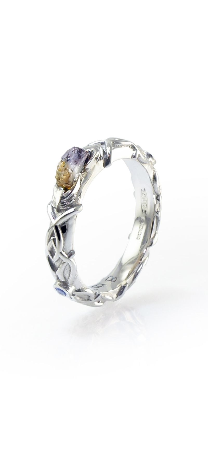 #fantasy #Wedding #rings Inspired by Lord of the Rings, Portal & Sci-fi series, 18ct White Gold bespoke wedding ring. www.advancedjc.com