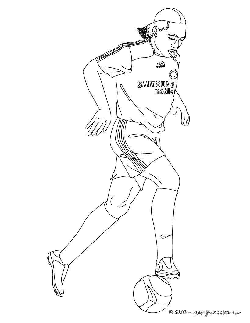 Coloriage du joueur de foot Di r Drogba € imprimer gratuitement ou colorier en ligne sur