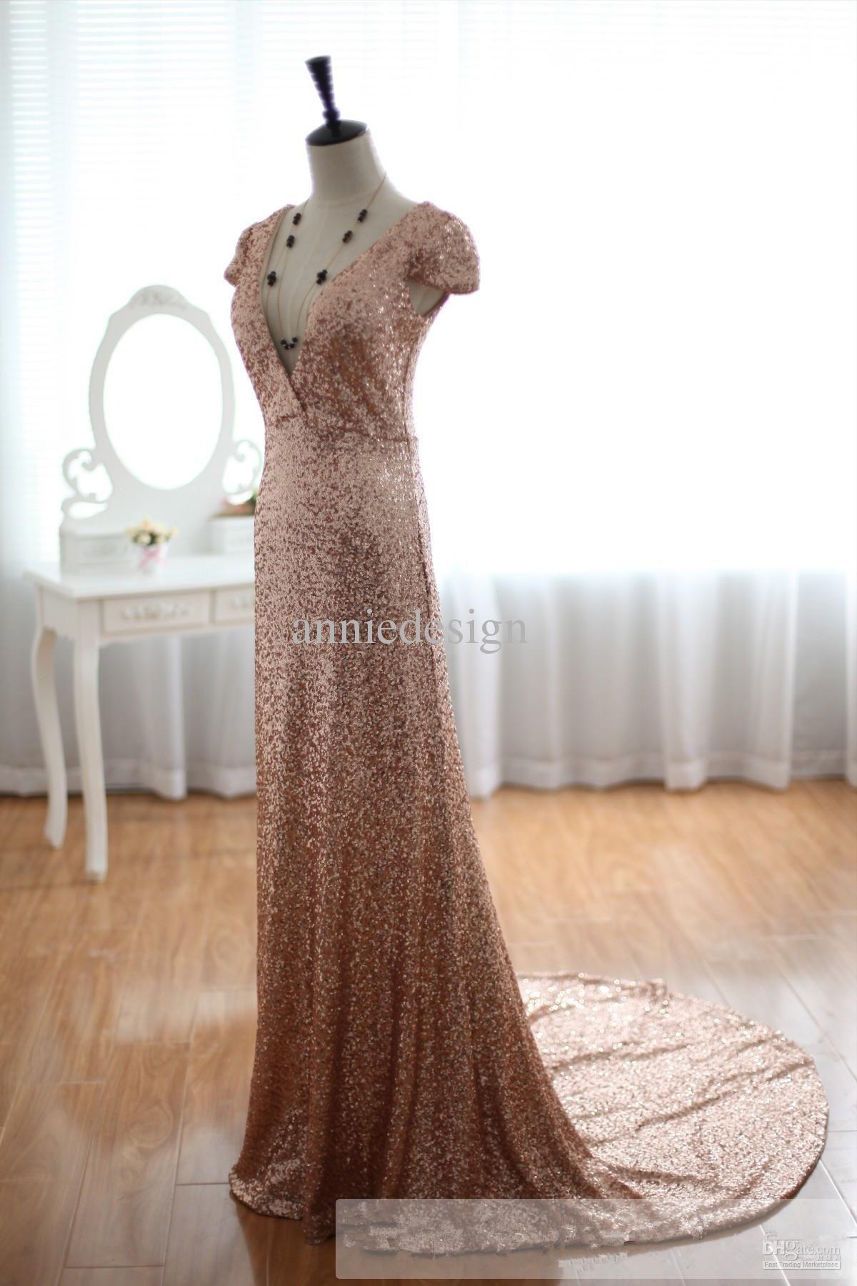 Gold sparkle wedding dress  Custom Vintage Champage Gold Sequins Wedding Dress Prom Dress