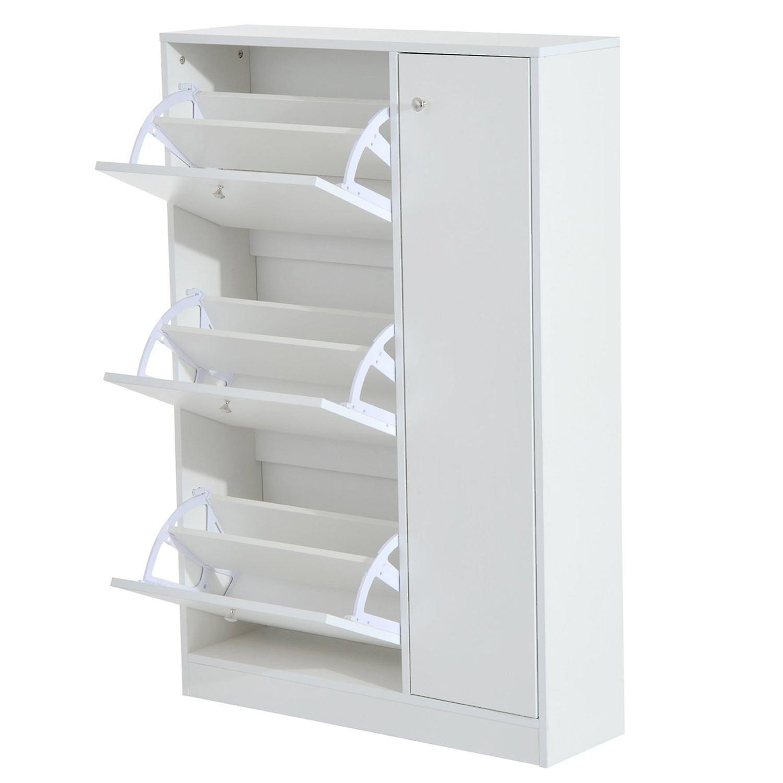 Homcom Wooden Shoe Rack Modern Storage Cabinet Cupboard With 3 Doors Hallway Furniture White Fruugo Modern Storage Cabinet Storage Cabinet Modern Storage